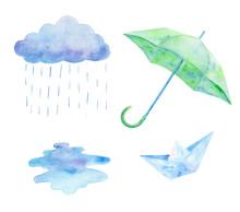 Rainy Day Clipart. Watercolor Set.