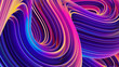 canvas print picture - Abstract 3D liquid holographic wavy lines background for trendy design