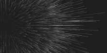 Vector Round Trails Of Explosion Background. Out Of Centric Debris Motion. Particles Blurred Into Rays Or Lines Under High Speed Of Motion. Burst, Explosion Backdrop.