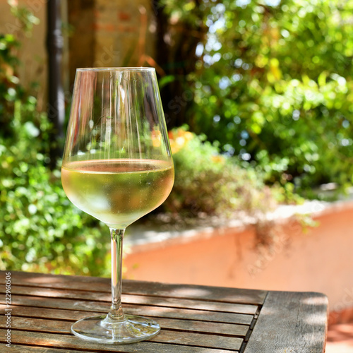 Stickers pour portes Pique-nique A Glass of White Wine on a Table in the Garden