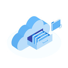 Cloud Data Storage Flat 3d Iso...