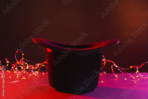 Canvas Black magician hat on dark color background