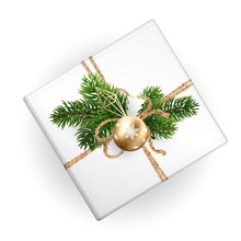 A Mockup Of A Xmas Gift Box For Your Pattern With Decoration. Top View. Realistic Illustration. Clean And White For Wrapping Paper. Decoration Of Christmas Toys, Gold And Geometric And Fir Branches.
