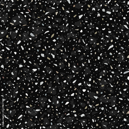 Terrazzo flooring vector seamless pattern in dark colors with accents. Classic italian type of floor in Venetian style composed of natural stone, granite, quartz, marble, glass and concrete