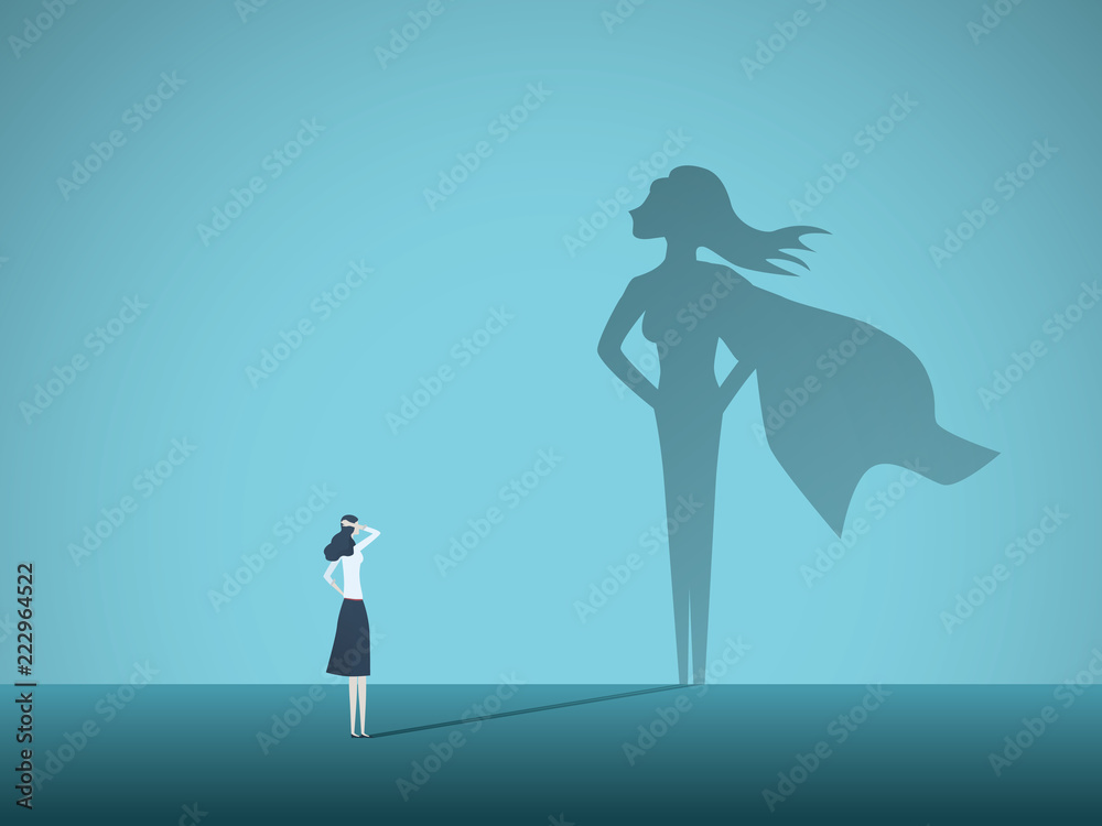 Fototapeta Businesswoman with superhero shadow vector concept. Business symbol of emancipation, ambition, success, motivation, leadership, courage and challenge.