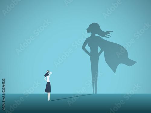 Fotografia, Obraz Businesswoman with superhero shadow vector concept