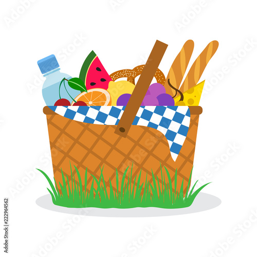 Foto Picnic basket on grass. Vector illustration