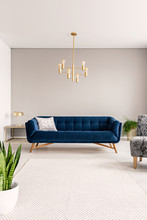 Minimal Living Room Interior With A Blue Sofa And Lots Of Empty Space On The Floor And On The Background Wall. Real Photo.