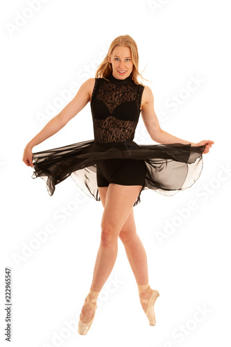 Photo  Beautiful balet dancer dance isolated over white background