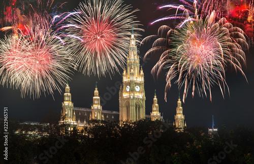 Foto op Plexiglas Wenen Rathaus in Wien mit Silvester-Feuerwerk