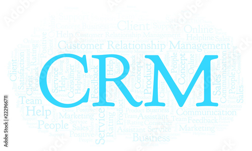 Photo  CRM - Customer Relationship Management word cloud.