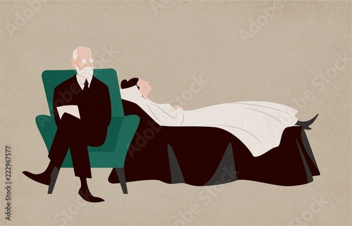 Fotografija  Woman lying on couch and Sigmund Freud sitting in armchair beside her and asking questions