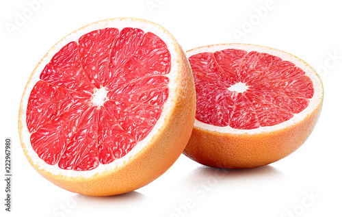 Two halves of grapefruit