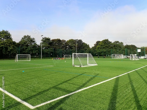 Obraz Floodlit all-weather 3G artificial grass football pitch, Meriden Community Centre, Watford - fototapety do salonu