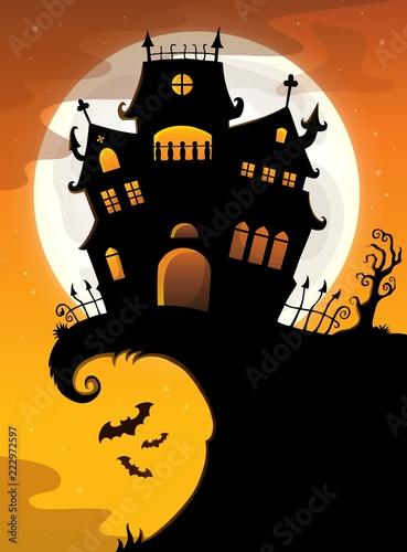 Spoed Foto op Canvas Voor kinderen Halloween house silhouette theme 2
