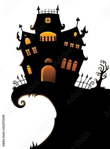 Spoed Foto op Canvas Voor kinderen Halloween house silhouette theme 1