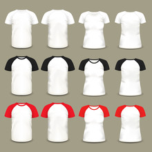 Set Of Isolated Raglan T-shirts And Shirts