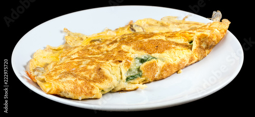 Fotobehang Buffet, Bar Omelet with organic spinach, cheese and mushrooms isolated on black background