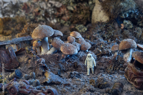 Valokuva  Photo of a toy person near the giant mushrooms and rusted objects