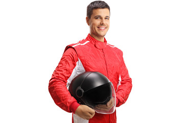 Racer with a helmet looking at the camera and smiling