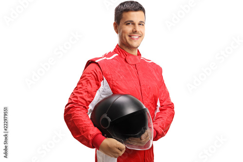Photo sur Toile Motorise Racer with a helmet looking at the camera and smiling