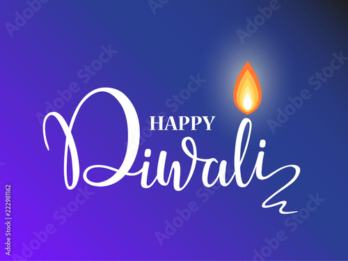 Happy Diwali lettering wallpaper design template. illustration of burning Diwali diya oil lamp for light festival of India.