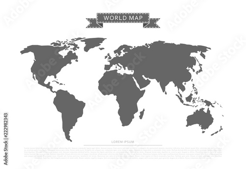 Fotografie, Tablou  Flat world map