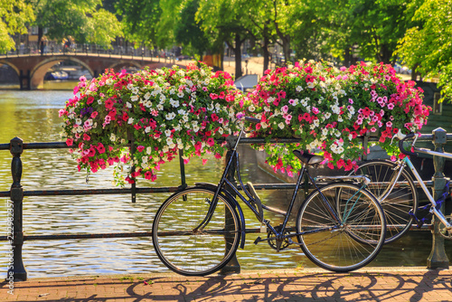 Photo sur Aluminium Europe Centrale Beautiful vibrant summer flowers and a bicycle on a bridge on the famous world heritage canals of Amsterdam, The Netherlands