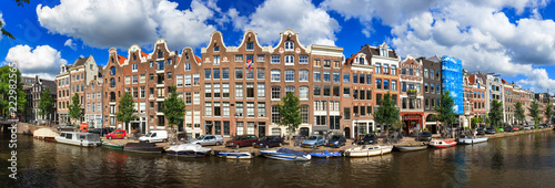Beautiful panoramic linear panorama of the UNESCO world heritage Prinsengracht c Wallpaper Mural