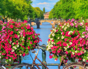 FototapetaBeautiful vibrant summer flowers and a bicycle on a bridge on the famous world heritage canals of Amsterdam, The Netherlands