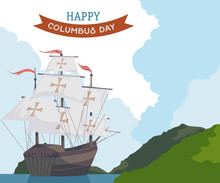 Happy Columbus Day. Greeting Card With Ship And Landscape. Vector Illustration