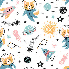 Seamless space pattern with cute foxes