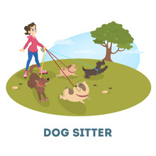 Female Dog Sitter Walking With Cute Pets