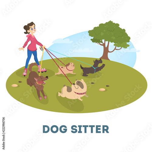 Cuadros en Lienzo Female dog sitter walking with cute pets