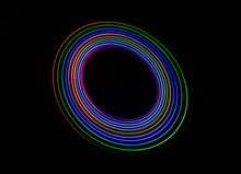 Colourful Abstract With Swooshes, Swirls, Circles And Spirals On A Black Background.