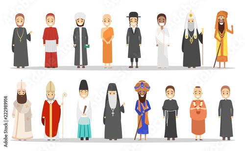 Fototapeta People of different religion. Collection of religious men obraz