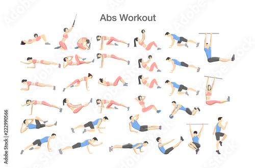 Photo ABS workout for men and women. Sport exercises
