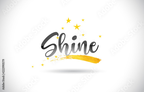 Shine Word Vector Text with Golden Stars Trail and Handwritten Curved Font Wallpaper Mural
