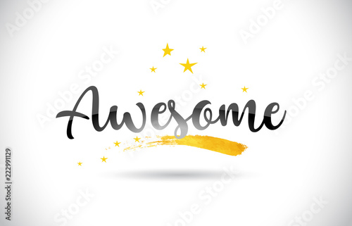 Photo Awesome Word Vector Text with Golden Stars Trail and Handwritten Curved Font