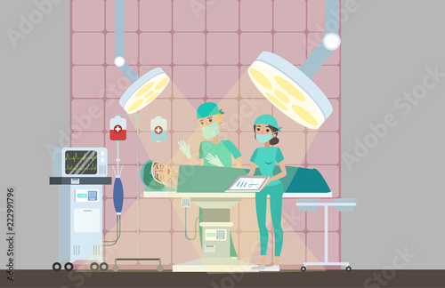 Canvas Print Surgeon making plastic operation in the surgery room