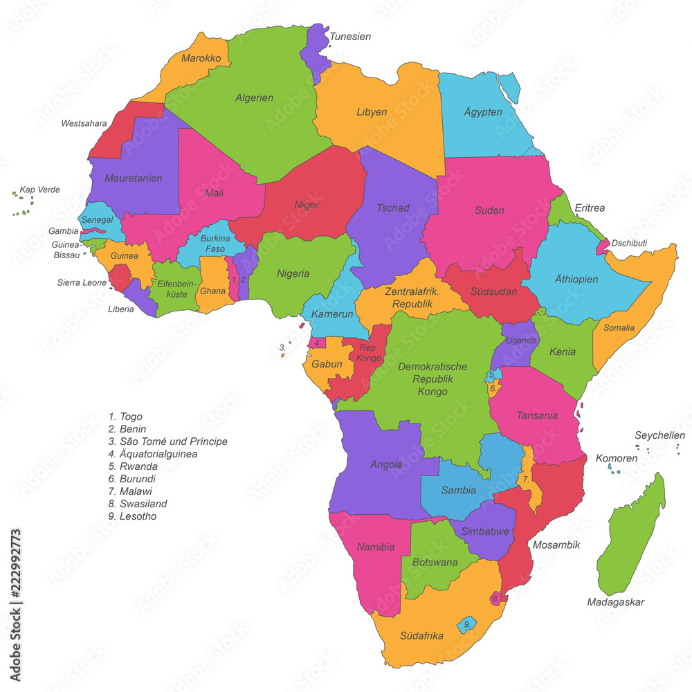 Gamesageddon Stock Afrika Politische Karte Beschriftet