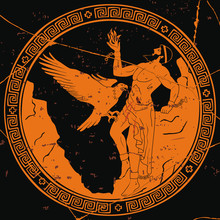 Ancient Greek God Prometheus With A Fire In His Hand. Figure On The Bottom Of The Vase.