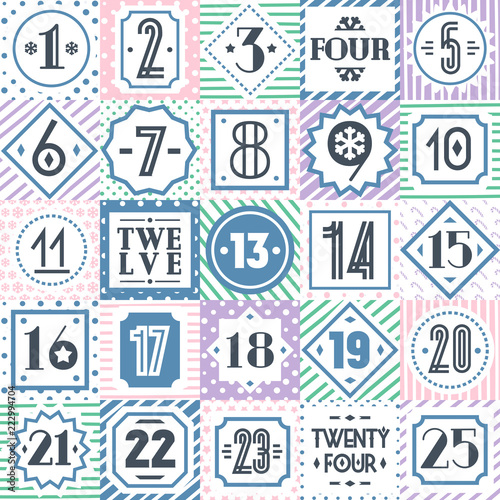 image relating to Christmas Countdown Printable called Vector xmas countdown printable tags variety