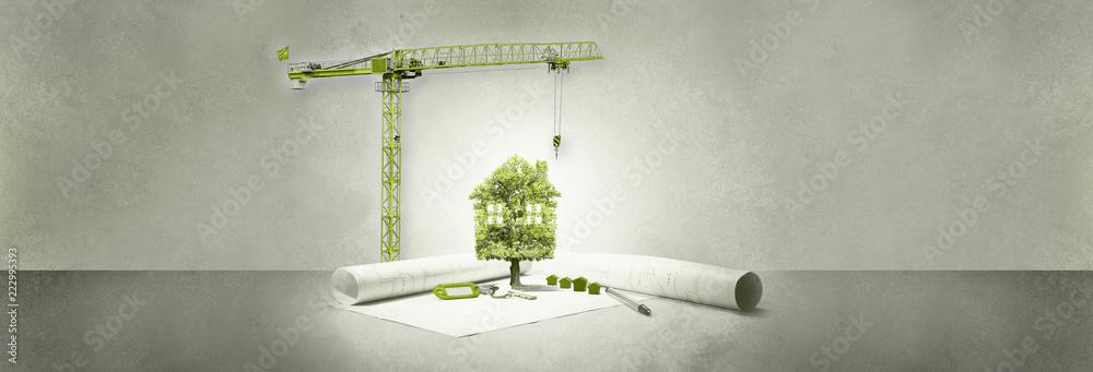Fototapeta projet immobilier,maison écologie,arbre et grue