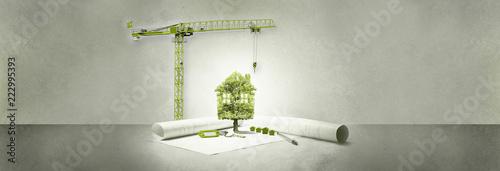 Carta da parati projet immobilier,maison écologie,arbre et grue