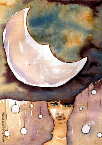 Photo Stands Painterly Inspiration Watercolor illustration, portrait of a child.