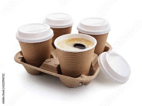 Coffee take out disposable cups in holder