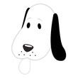 Dog head cartoon in black and white