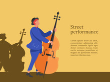 Street Musician. Man Playing The Double Bass. Street Performance. Vector Illustration.