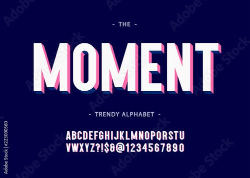 Moment alphabet 3d bold typography sans serif colorful style Canvas Print